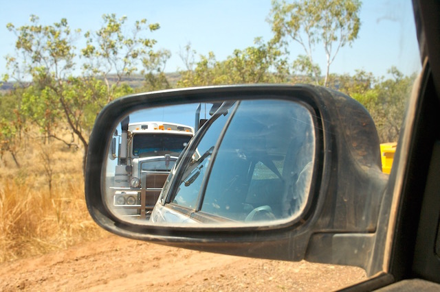 Camping your way around Australia: Reflection of a road train