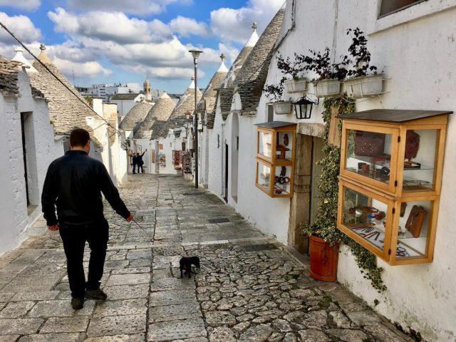 Alberobello with a dog