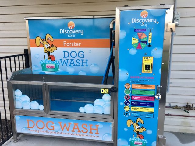 Dog wash at a dog-friendly caravan park