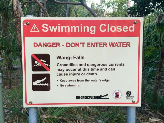 A crocodile warning sign in northern Australia