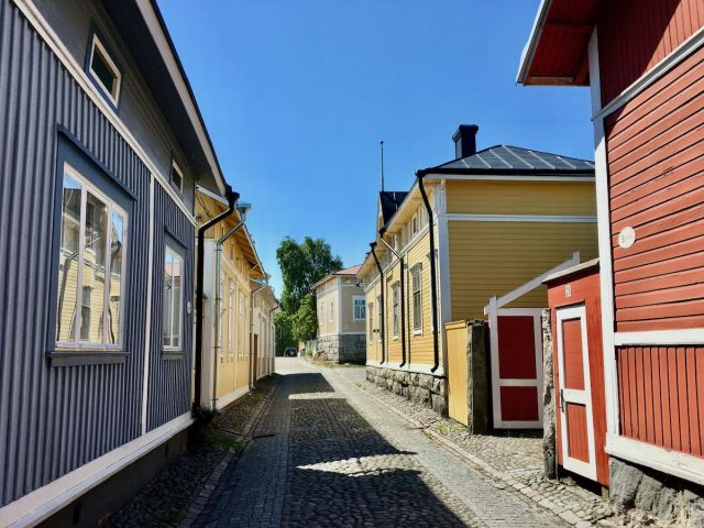 Old wooden houses in Rauma, Finland